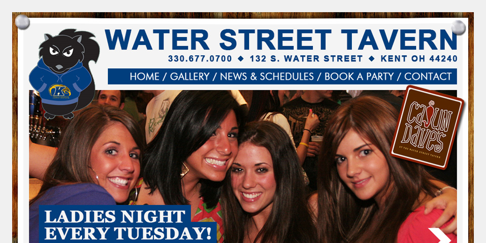 Waterstreet Tavern Home Page Design