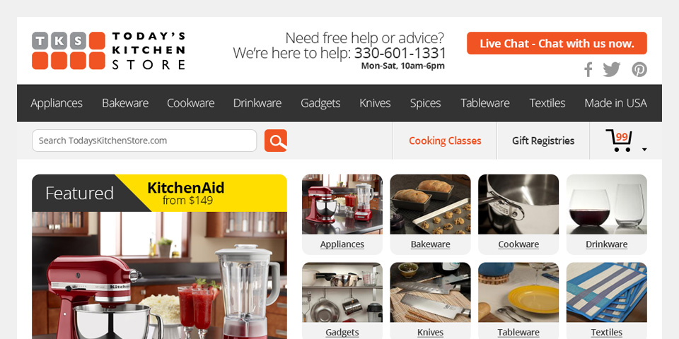 Today's Kitchen Store Website Home 01