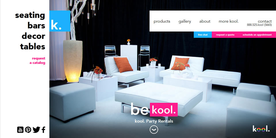 kool. Website Desktop Home Page Design