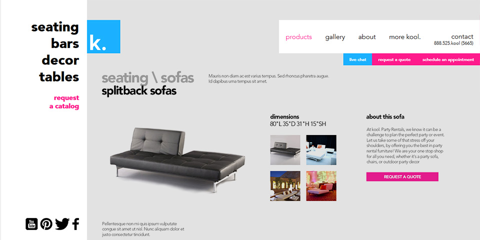 kool. Website Desktop Product Page Design